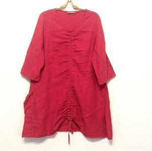 Bryn Walker Size L Josie Tunic Red Linen Lagenlook